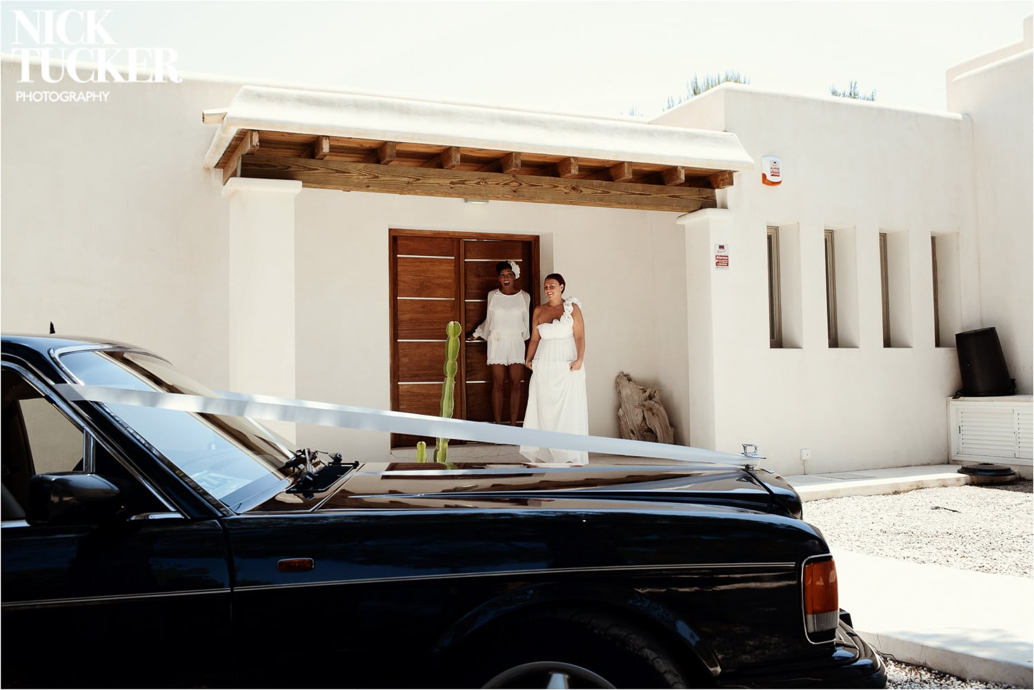 brides seeing their wedding car for the first time