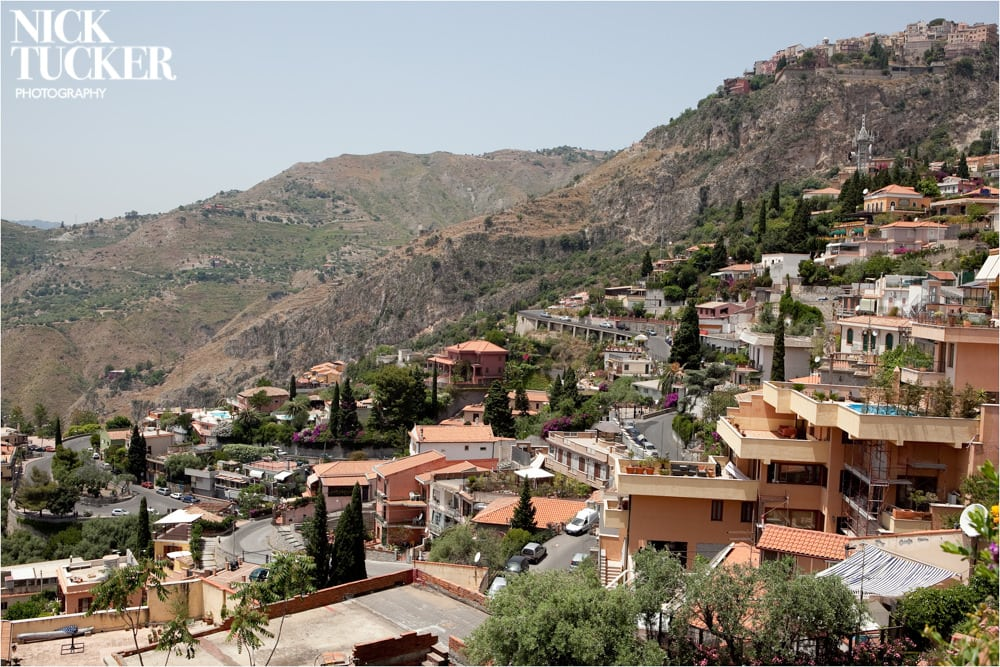 the view of the taormina hills
