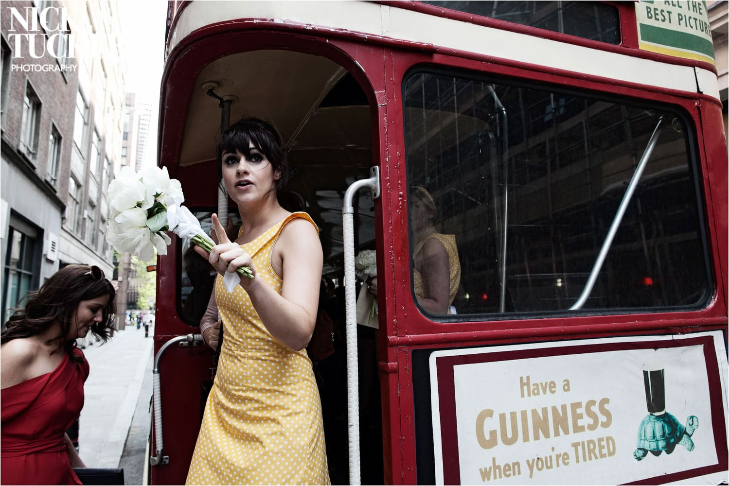 old fashioned routemaster wedding bus