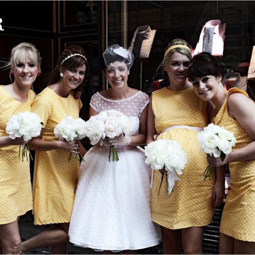 vintage detail bridesmaids and bride
