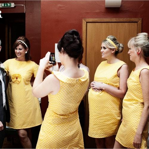 yellow polka dot bridesmaids