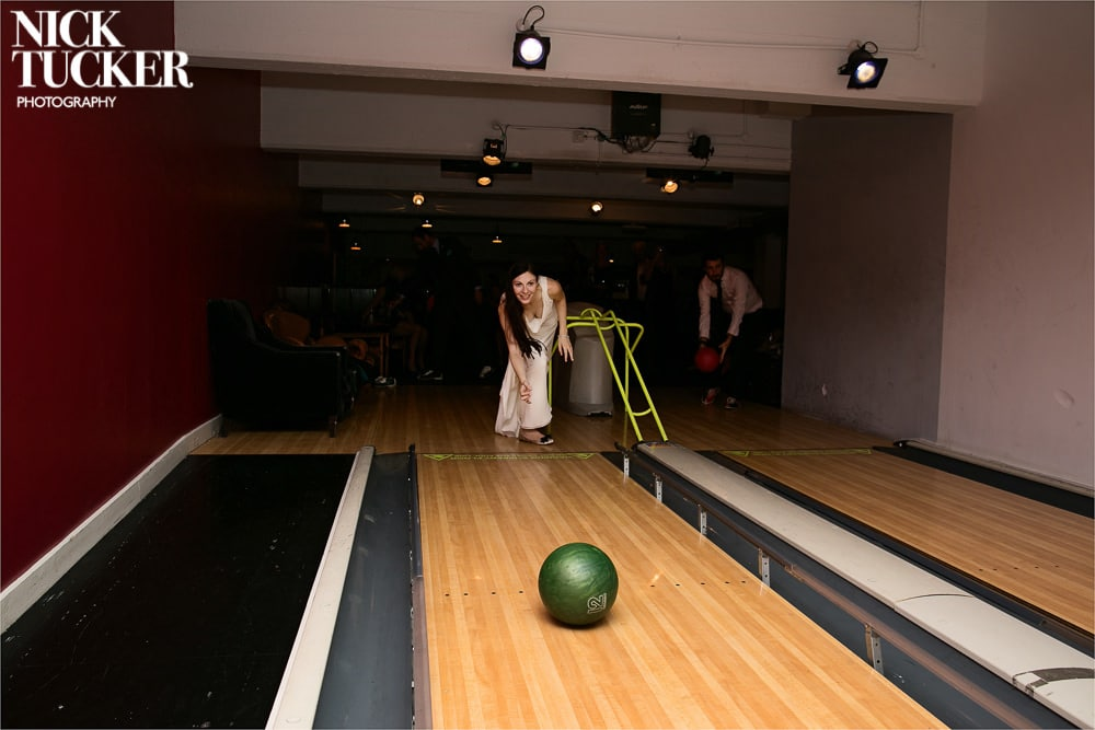 bride bowling in shoreditch house lanes