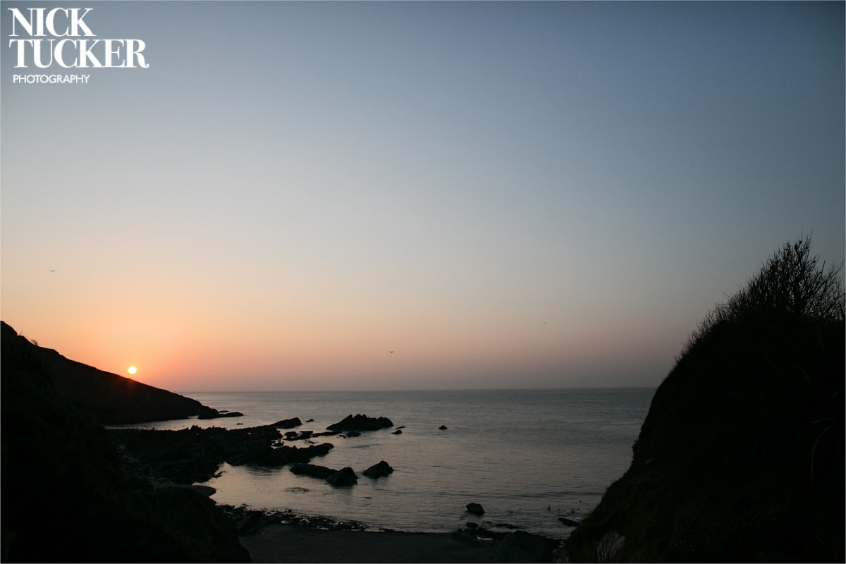 sunset at tunnels beaches ilfracombe