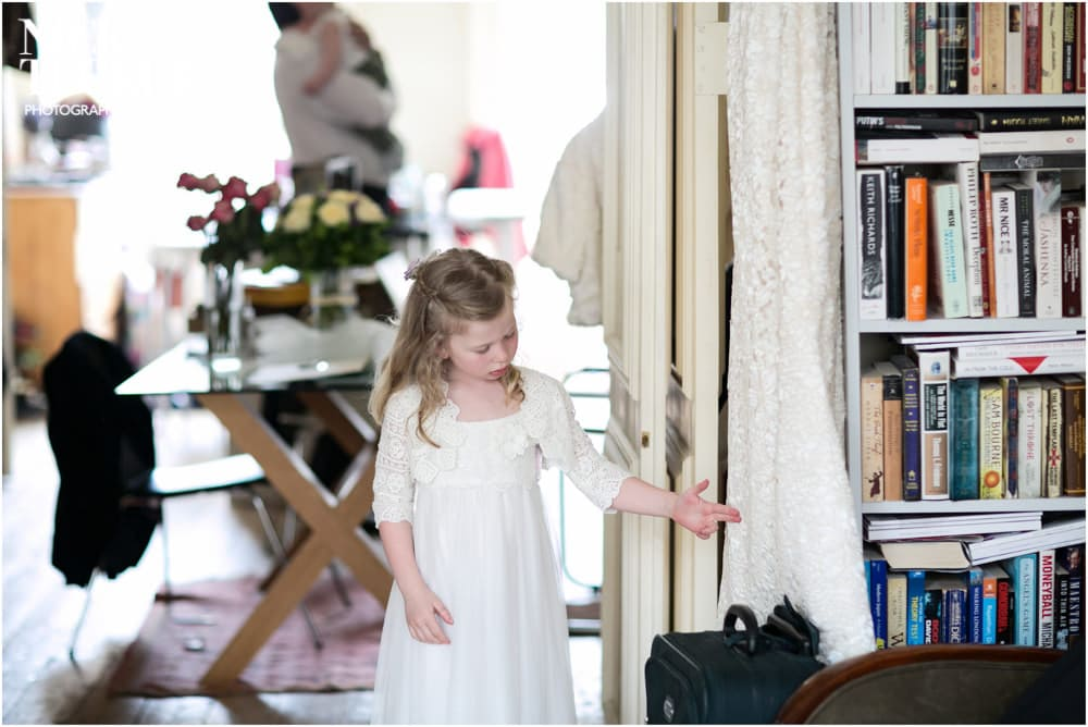 young bridesmaid with wedding dress