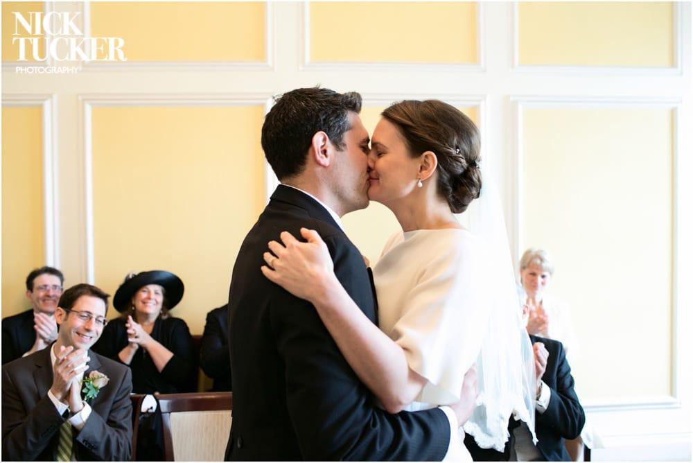 marylebone town hall wedding kiss