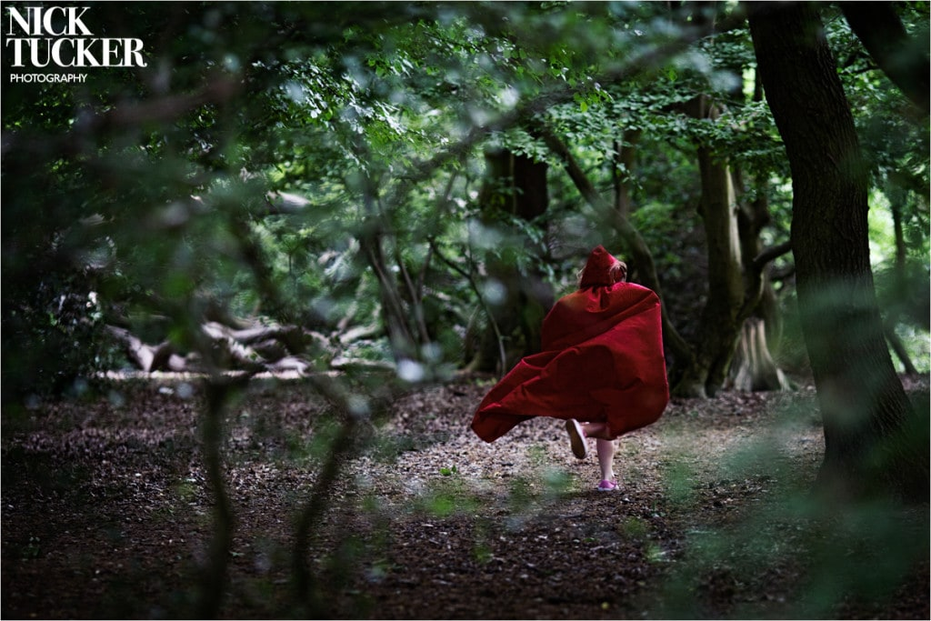 young girl running in woods north london