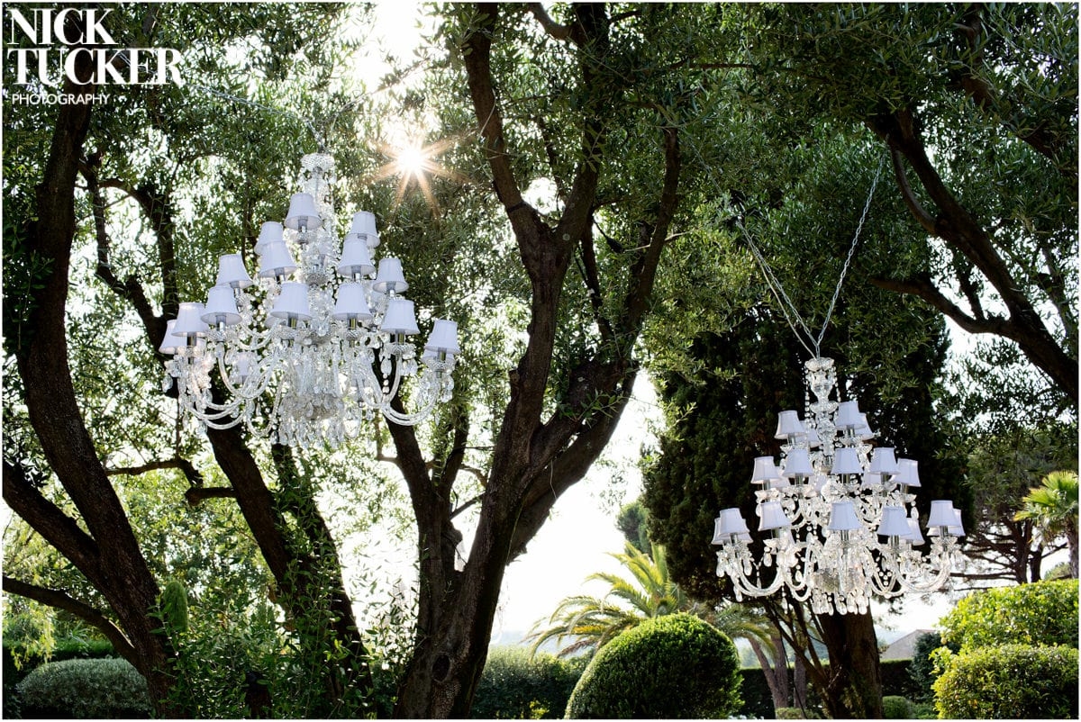 outdoors chandelier wedding detail