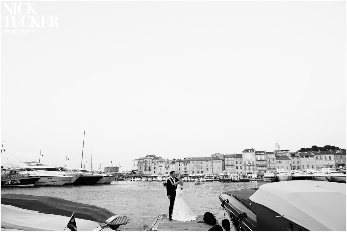 st tropez marina bride and groom