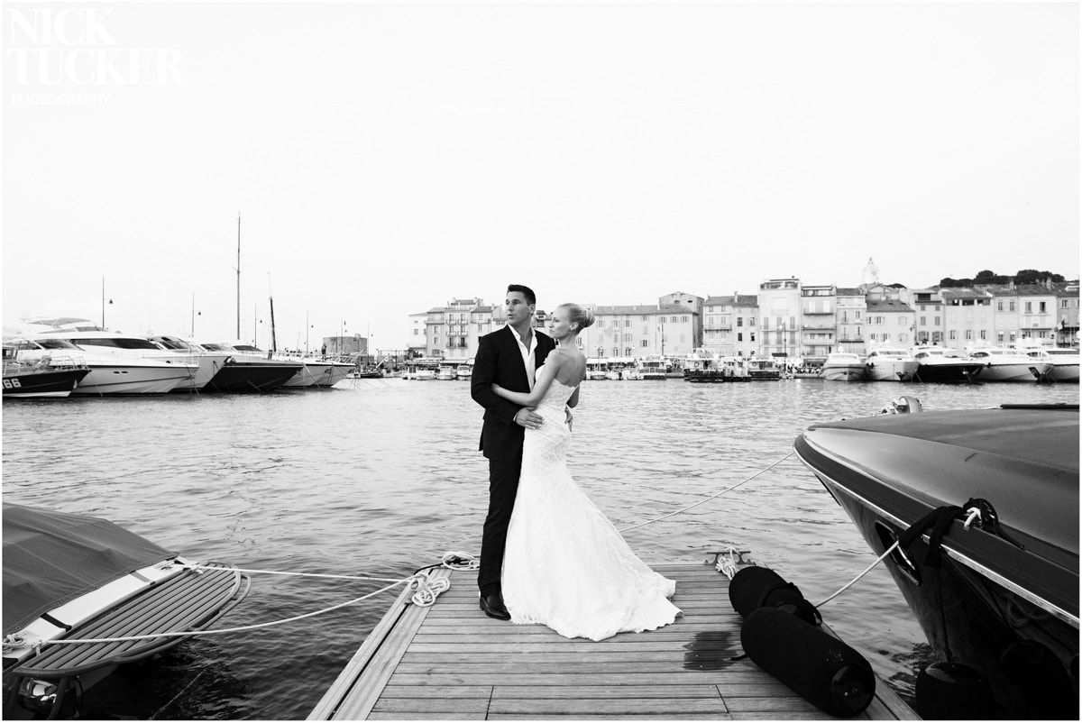 bride and groom by st tropez harbour