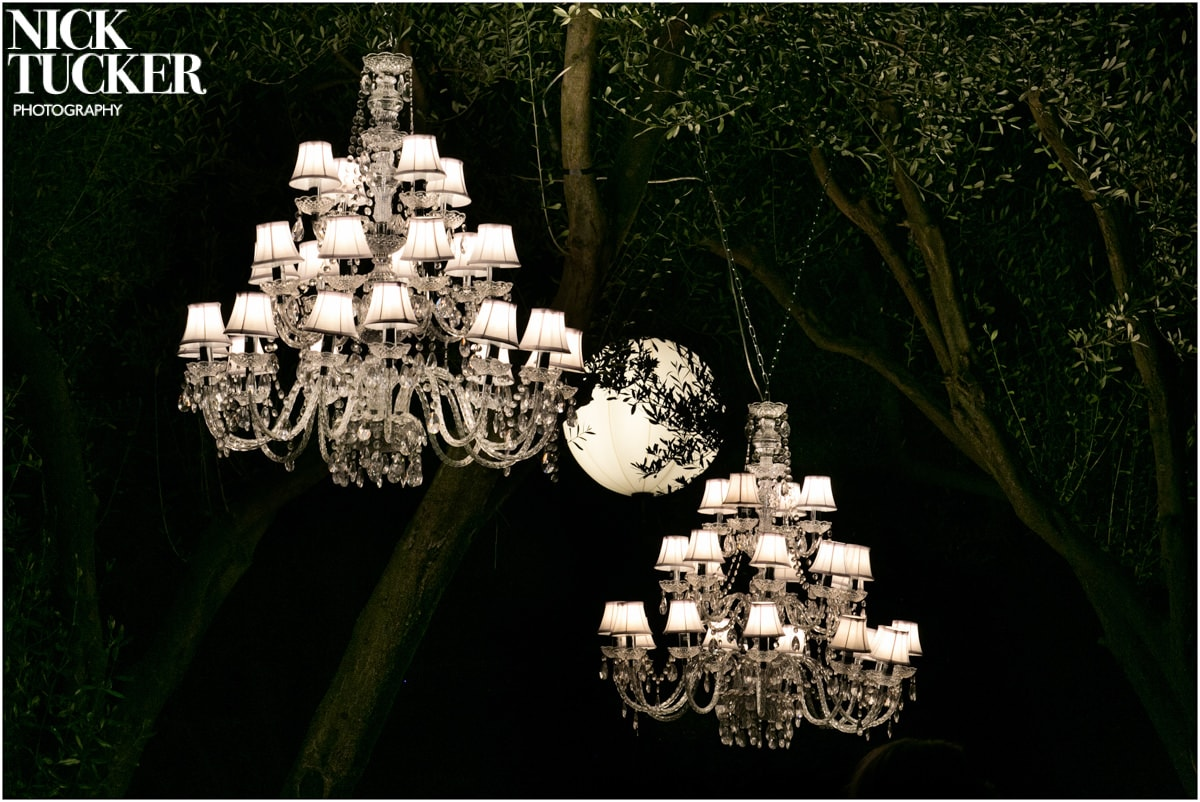 st tropez chandelier wedding detail