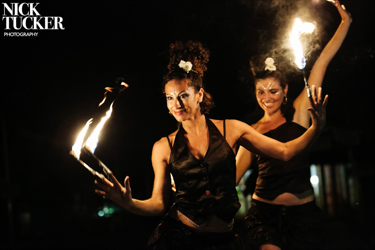 fire dancers wedding party