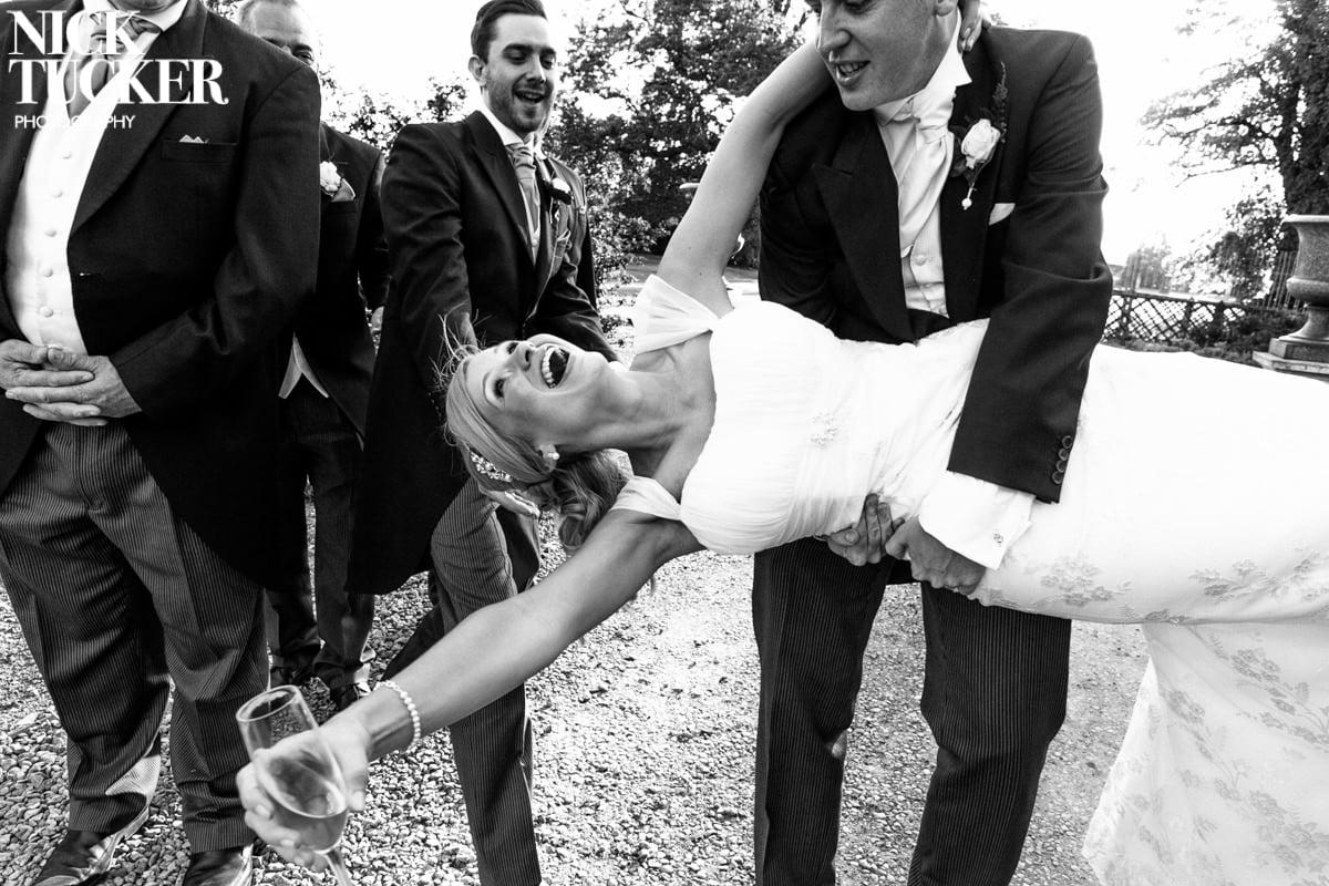 bride in beautiful Charlotte Balbier wedding dress