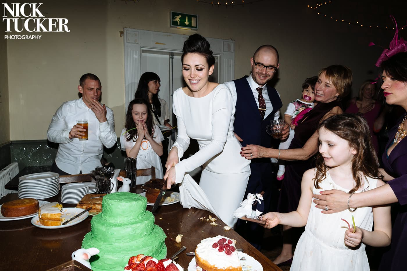 big green wedding cake
