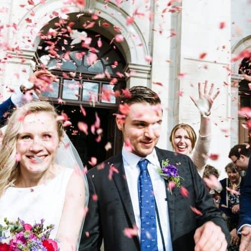 christ church spitalfields wedding confetti