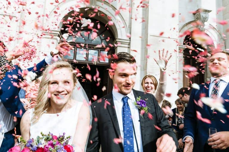 christ church spitalfields wedding confetti