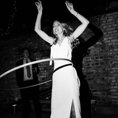 bride hula hoop dancing