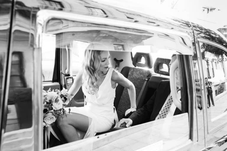 bride in taxi