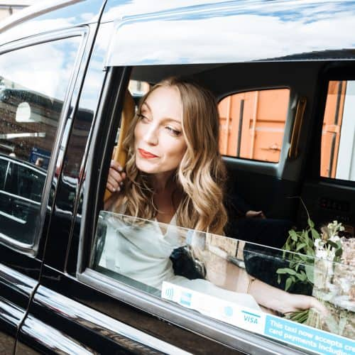 bride in london taxi