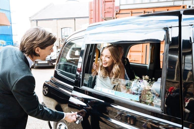 bride in london taxi