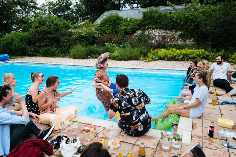 swimming pool wedding photography