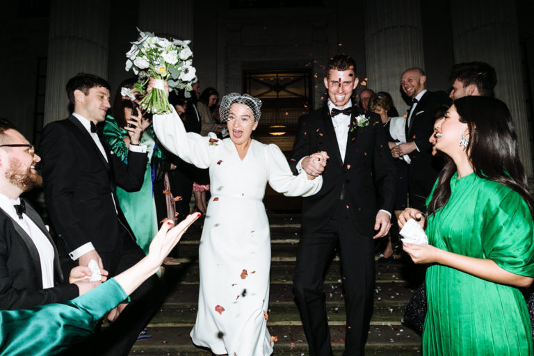 winter confetti wedding marylebone town hall london