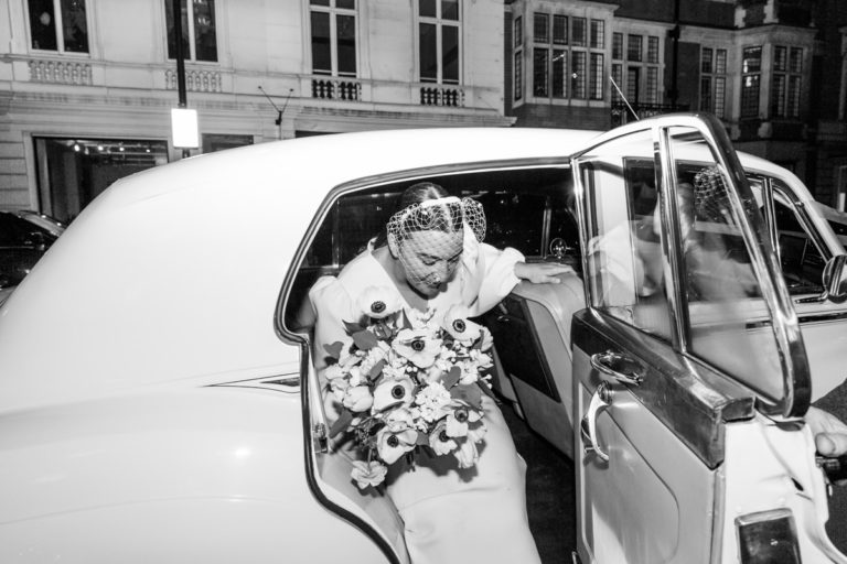 classic modern wedding photography london claridges vintage car